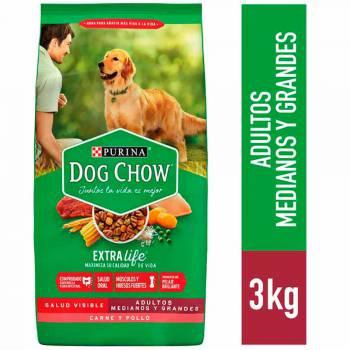 DOG CHOW Adultos Razas Medianas y Grandes Bolsa 3Kg