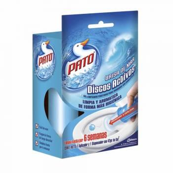 Desinfectante de Baño PATO Discos Activos Brisa de Mar Aplicador y Repuesto Empaque 42g